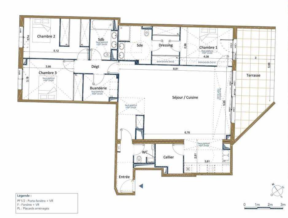 Plan D02, appartement neuf type T5 au Rez de chaussée, orienté Est faisant 140m² du programme neuf PALAIS GALLIEN FONDAUDEGE TR 2 à Bordeaux.