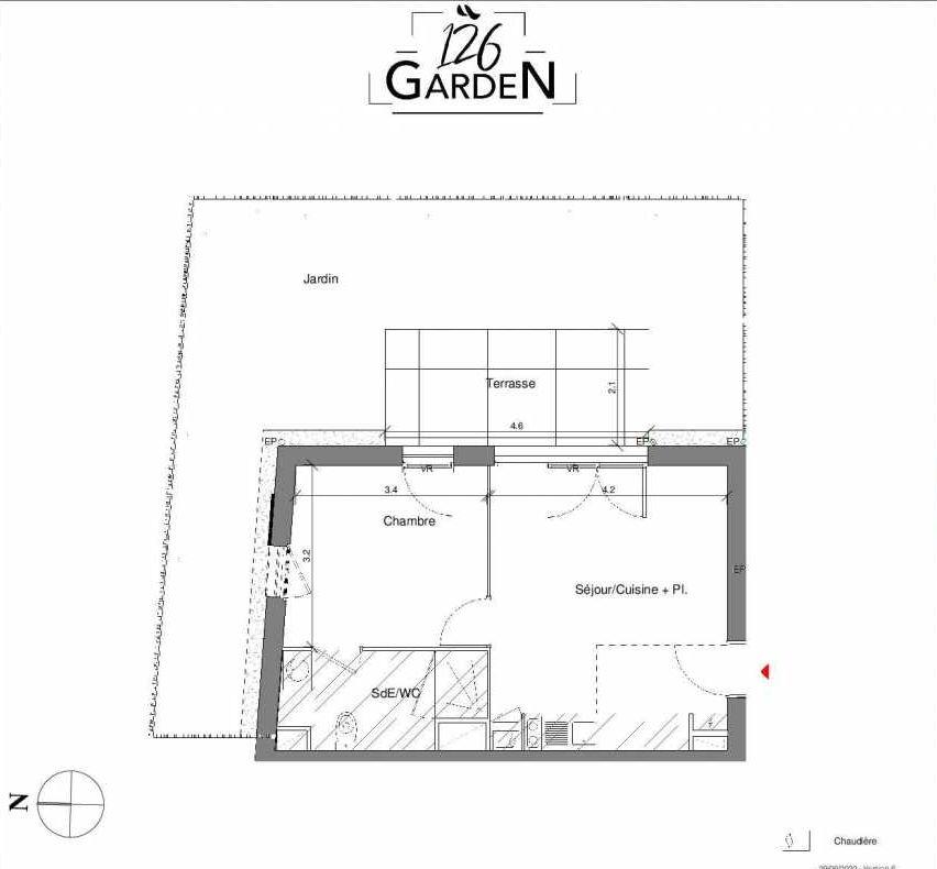 Plan D03, appartement neuf type T2 au Rez de chaussée, faisant 37m² du programme neuf 126 GARDEN à Toulouse.