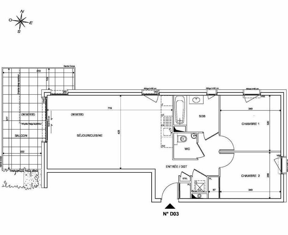 Plan D03, appartement neuf type T3 au Rez de chaussée, orienté Nord faisant 67m² du programme neuf INFINITY à Publier.