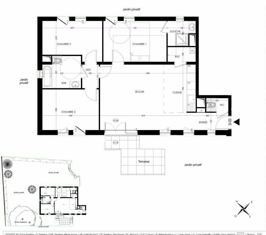 Plan D03, appartement neuf, orienté Sud faisant 86m² du programme neuf La Closeraie à Villeneuve-d'Ascq.