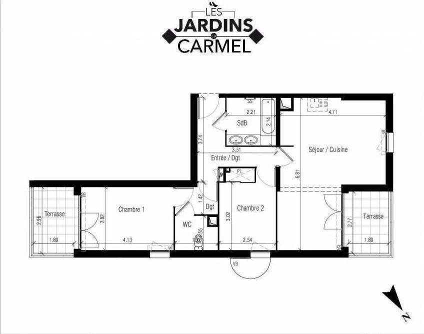 Plan D03, appartement neuf type T3 au Rez de chaussée, faisant 63m² du programme neuf Les Jardins du Carmel à Sète.