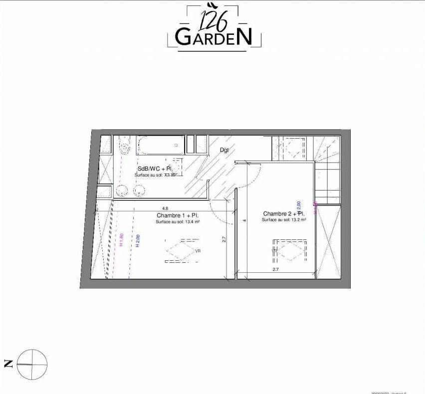 Plan D04, appartement neuf type T3 au 1er étage, faisant 66m² du programme neuf 126 GARDEN à Toulouse.