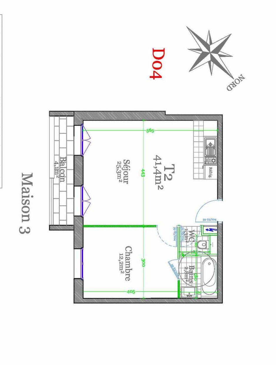 Plan D04, appartement neuf type T2 au 1er étage, orienté Sud faisant 41m² du programme neuf Les Jardins de Claye à Claye-Souilly.
