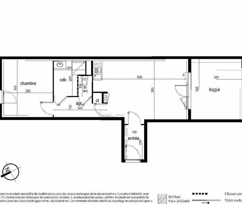 Plan D05, appartement neuf type T2 au 1er étage, faisant 46m² du programme neuf Nouvel'R à Montpellier.