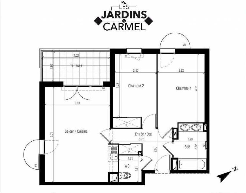 Plan D06, appartement neuf type T3 au 1er étage, faisant 60m² du programme neuf Les Jardins du Carmel à Sète.