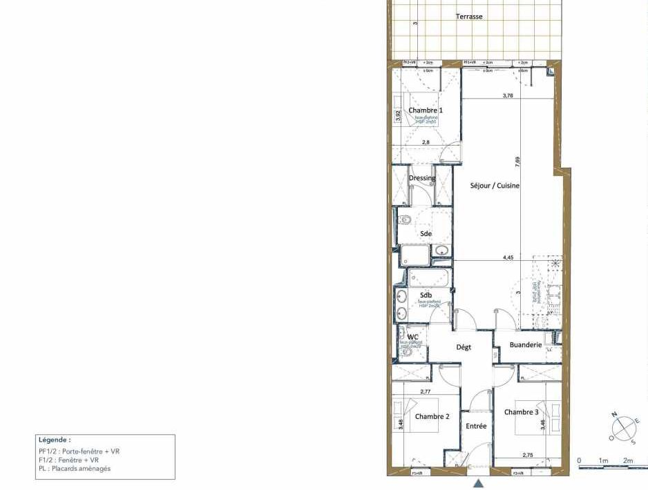 Plan D07, appartement neuf type T4 au Rez de chaussée, orienté Nord faisant 105m² du programme neuf PALAIS GALLIEN FONDAUDEGE TR 2 à Bordeaux.