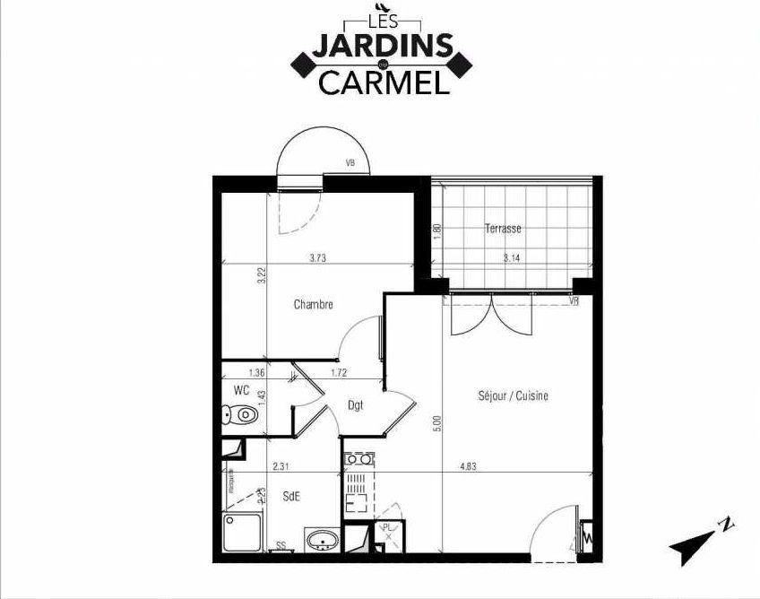 Plan D08, appartement neuf type T2 au 1er étage, faisant 42m² du programme neuf Les Jardins du Carmel à Sète.