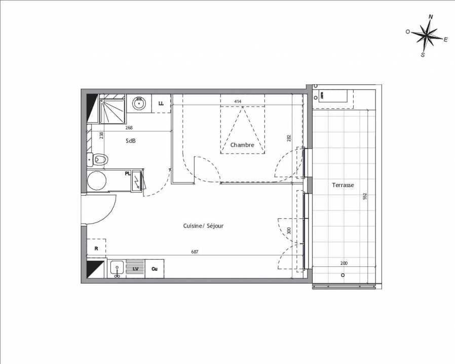 Plan D1-01, appartement neuf type T2 au Rez de chaussée, orienté Est faisant 39m² du programme neuf Soléa à Vendargues.