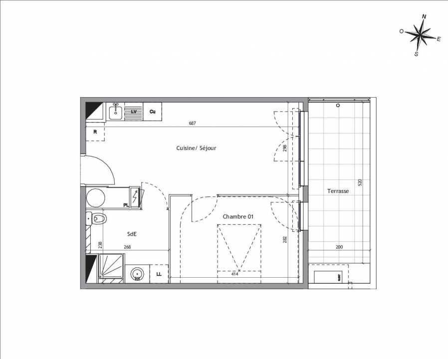 Plan D1-02, appartement neuf type T2 au Rez de chaussée, orienté Est faisant 39m² du programme neuf Soléa à Vendargues.
