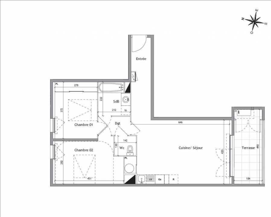 Plan D1-13, appartement neuf type T3 au 1er étage, orienté Sud faisant 65m² du programme neuf Soléa à Vendargues.