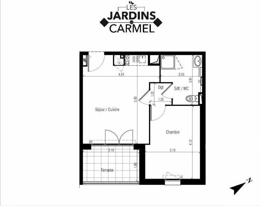 Plan D10, appartement neuf type T2 au 1er étage, faisant 38m² du programme neuf Les Jardins du Carmel à Sète.