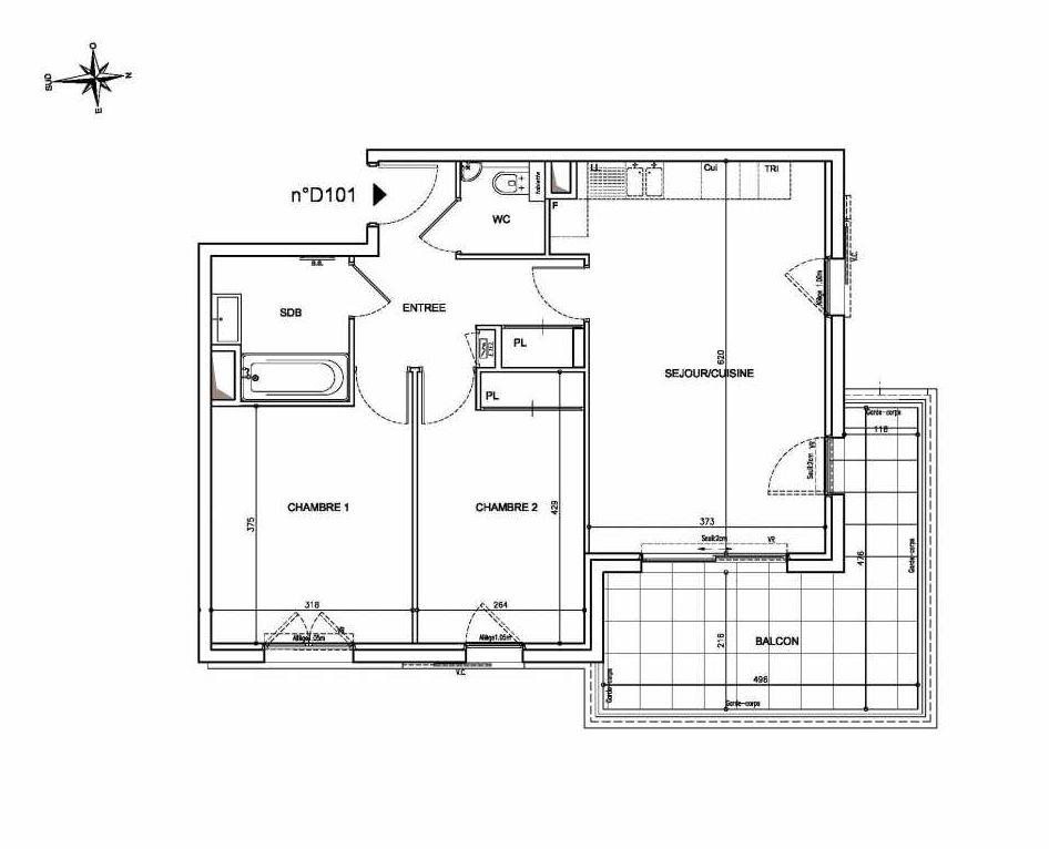 Plan D101, appartement neuf type T3 au 1er étage, orienté Est faisant 62m² du programme neuf Coeur Mougins - Jardins des Sens et Jardins en Vue à Mougins.
