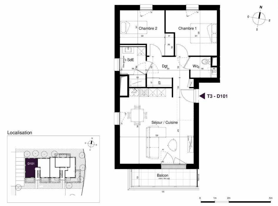 Plan D101, appartement neuf type T3 au 1er étage, orienté Sud faisant 62m² du programme neuf LES RIVES DE LUCE à Sainte-Luce-sur-Loire.