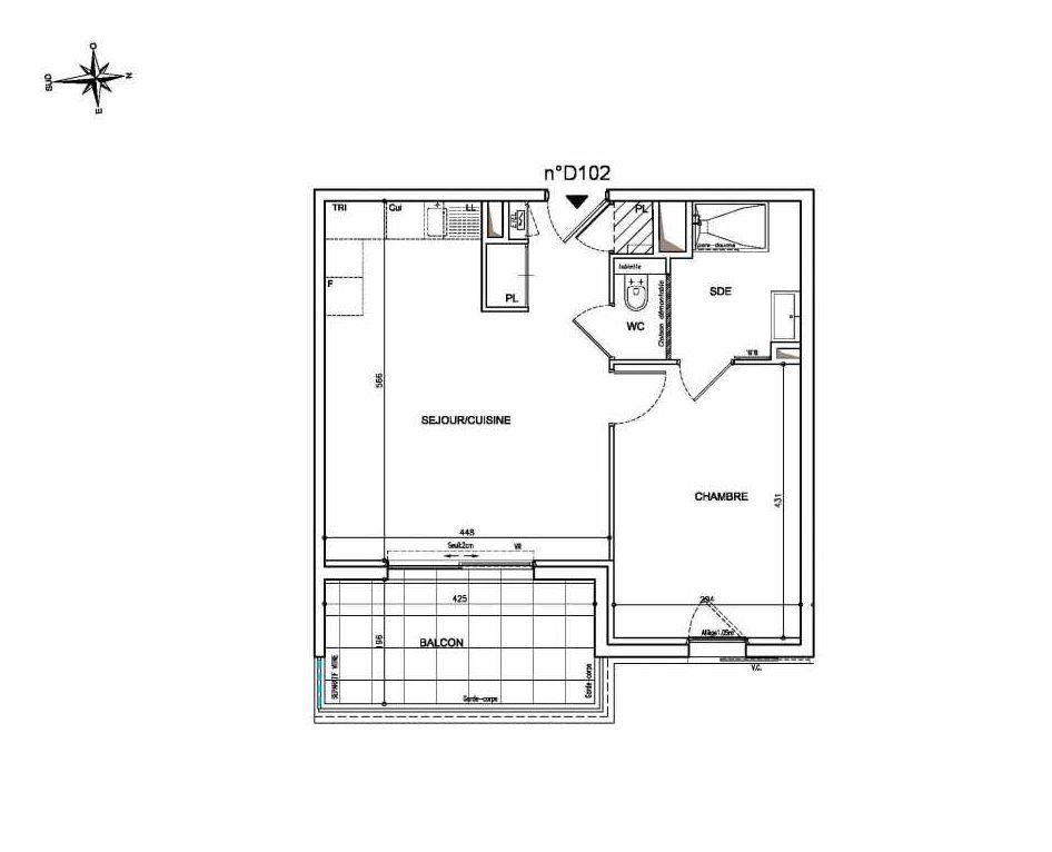 Plan D102, appartement neuf type T2 au 1er étage, orienté Est faisant 44m² du programme neuf Coeur Mougins - Jardins des Sens et Jardins en Vue à Mougins.