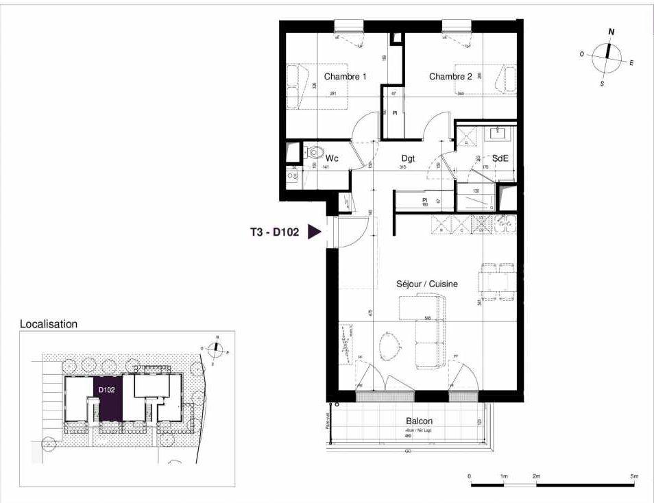 Plan D102, appartement neuf type T3 au 1er étage, orienté Sud faisant 62m² du programme neuf LES RIVES DE LUCE à Sainte-Luce-sur-Loire.