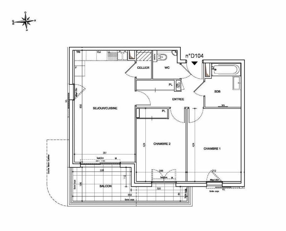 Plan D104, appartement neuf type T3 au 1er étage, orienté Est faisant 64m² du programme neuf Coeur Mougins - Jardins des Sens et Jardins en Vue à Mougins.