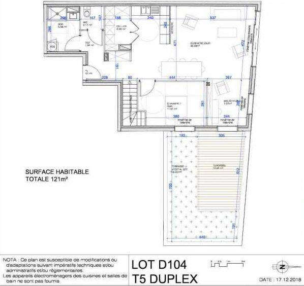 Plan D104, appartement neuf type T5 au Rez de jardin, orienté Nord faisant 121m² du programme neuf L'ESCAPADE à Le Pré-Saint-Gervais.