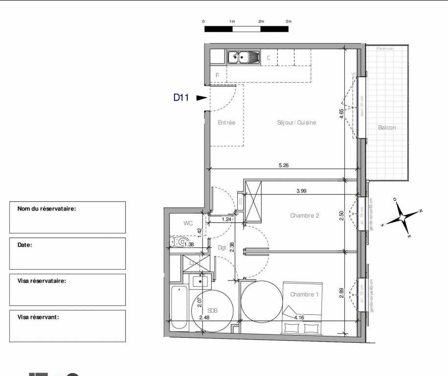 Plan D11, appartement neuf type T3 au 1er étage, orienté Nord faisant 58m² du programme neuf Domaine de la Roseraie à Chambourcy.