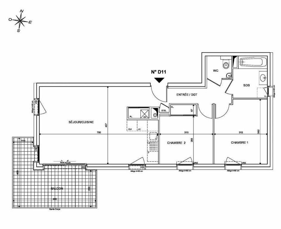 Plan D11, appartement neuf type T3 au 1er étage, orienté Sud faisant 65m² du programme neuf INFINITY à Publier.