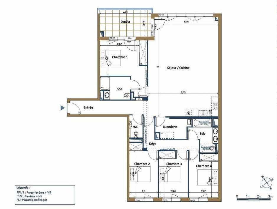 Plan D12, appartement neuf type T5 au 1er étage, orienté Nord faisant 144m² du programme neuf PALAIS GALLIEN FONDAUDEGE TR 2 à Bordeaux.