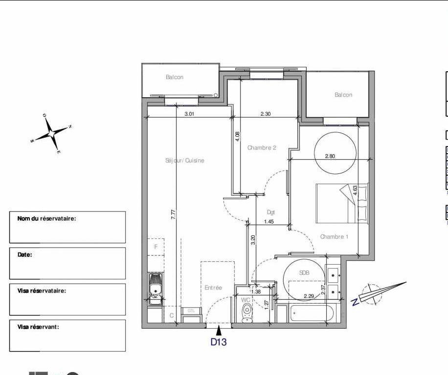 Plan D13, appartement neuf type T3 au 1er étage, orienté Nord faisant 57m² du programme neuf Domaine de la Roseraie à Chambourcy.