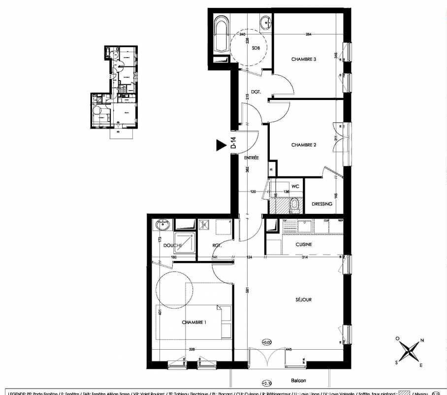 Plan D14, appartement neuf type T4 au 1er étage, orienté Sud faisant 78m² du programme neuf La Closeraie à Villeneuve-d'Ascq.