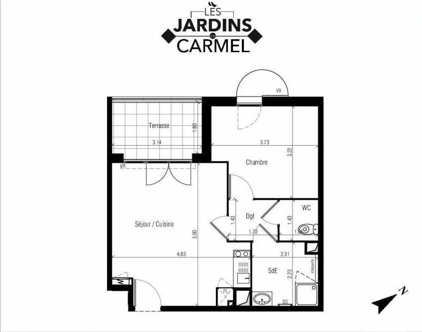 Plan D14, appartement neuf type T2 au 2ème étage, faisant 41m² du programme neuf Les Jardins du Carmel à Sète.