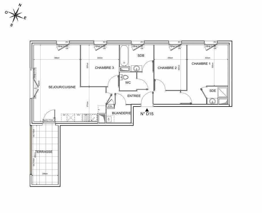 Plan D15, appartement neuf type T4 au 1er étage, orienté Nord faisant 79m² du programme neuf Recto Verso à Brignais.