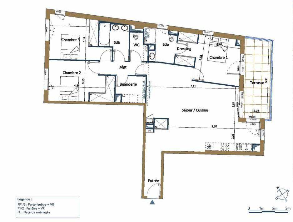 Plan D18, appartement neuf type T4 au 1er étage, orienté Nord faisant 113m² du programme neuf PALAIS GALLIEN FONDAUDEGE TR 2 à Bordeaux.