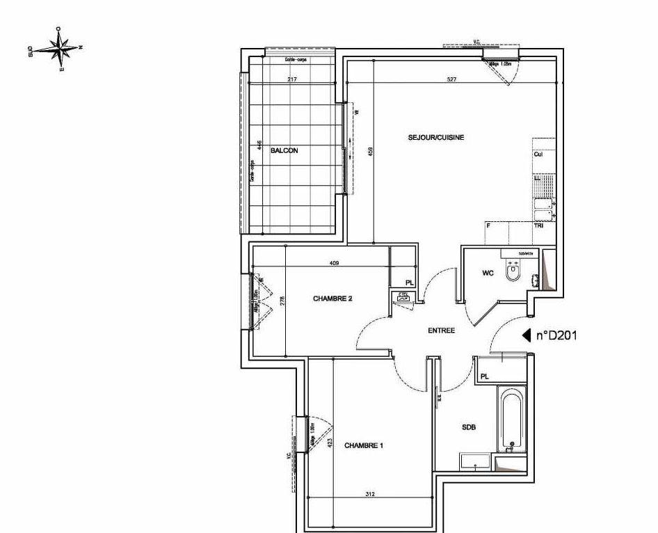 Plan D201, appartement neuf type T3 au 2ème étage, orienté Sud faisant 62m² du programme neuf Coeur Mougins - Jardins des Sens et Jardins en Vue à Mougins.