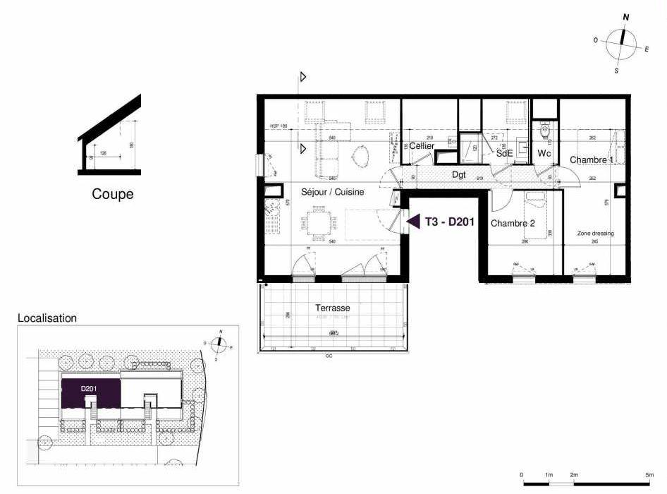 Plan D201, appartement neuf type T3 au 2ème étage, orienté Sud faisant 66m² du programme neuf LES RIVES DE LUCE à Sainte-Luce-sur-Loire.
