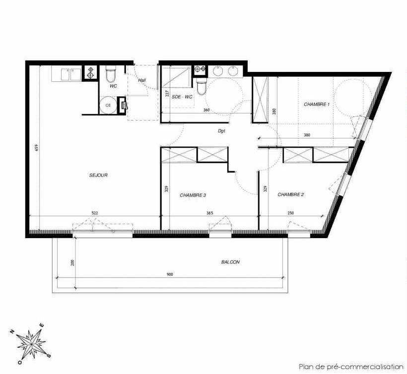 Plan D203, appartement neuf type T4 au 2ème étage, faisant 81m² du programme neuf DOMAINE DES LAURIERS à Montpellier.