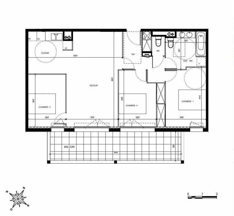 Plan D204, appartement neuf type T4 au 2ème étage, faisant 80m² du programme neuf DOMAINE DES LAURIERS à Montpellier.