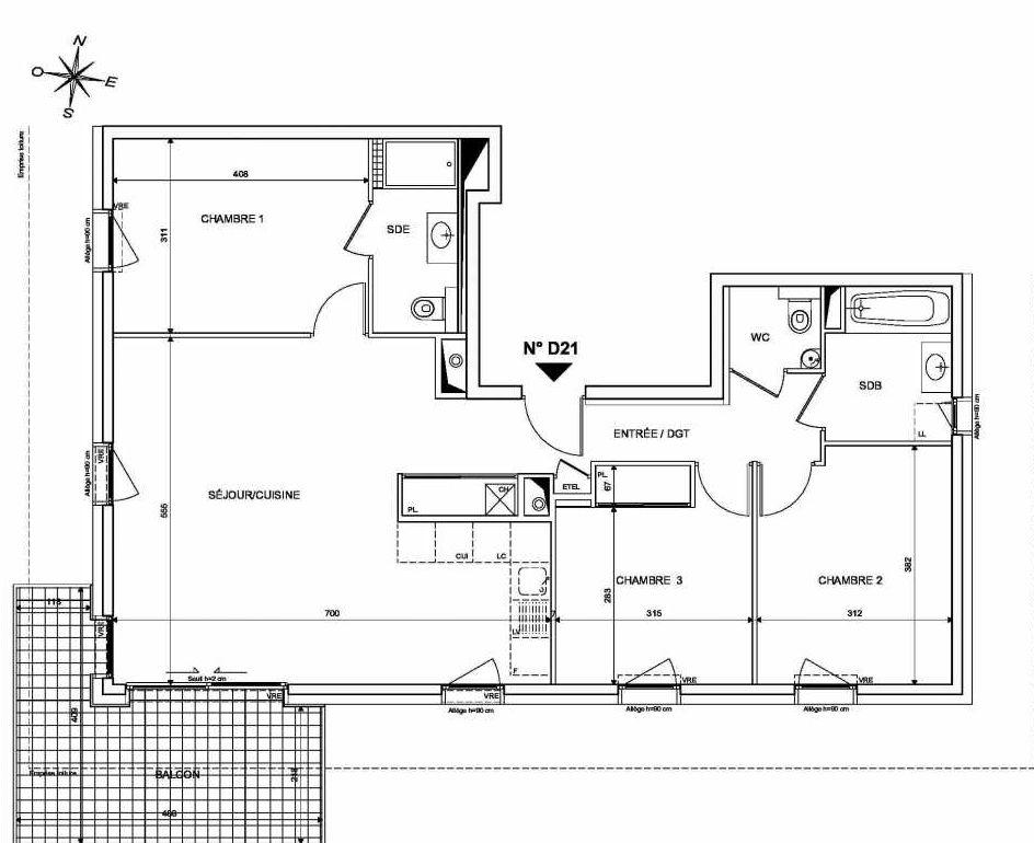 Plan D21, appartement neuf type T4 au 2ème étage, orienté Sud faisant 87m² du programme neuf INFINITY à Publier.