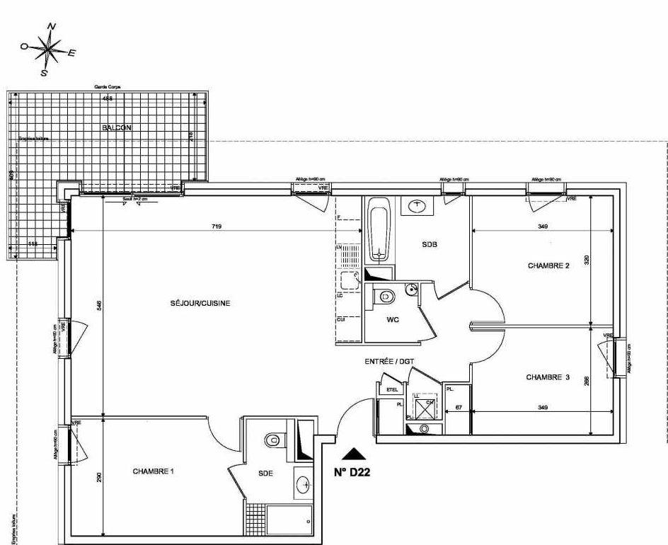 Plan D22, appartement neuf type T4 au 2ème étage, orienté Nord faisant 91m² du programme neuf INFINITY à Publier.