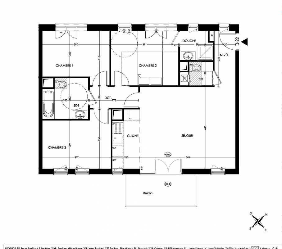 Plan D22, appartement neuf type T4 au 2ème étage, orienté Sud faisant 81m² du programme neuf La Closeraie à Villeneuve-d'Ascq.