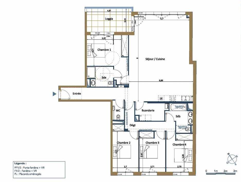 Plan D22, appartement neuf type T5 au 2ème étage, orienté Nord faisant 144m² du programme neuf PALAIS GALLIEN FONDAUDEGE TR 2 à Bordeaux.