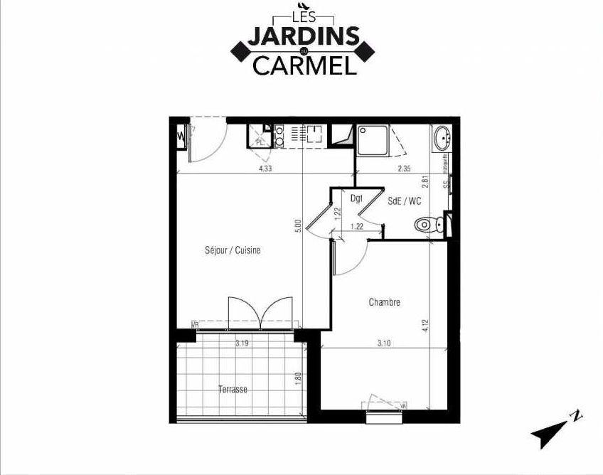 Plan D24, appartement neuf type T2 au 3ème étage, faisant 38m² du programme neuf Les Jardins du Carmel à Sète.