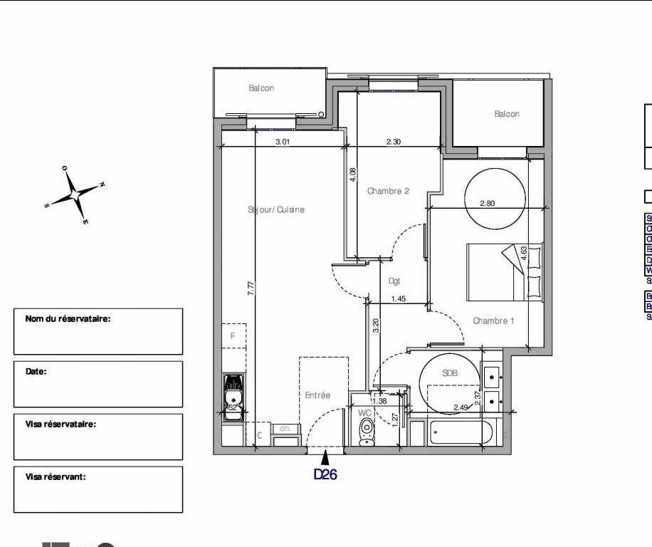 Plan D26, appartement neuf type T3 au 2ème étage, orienté Nord faisant 57m² du programme neuf Domaine de la Roseraie à Chambourcy.