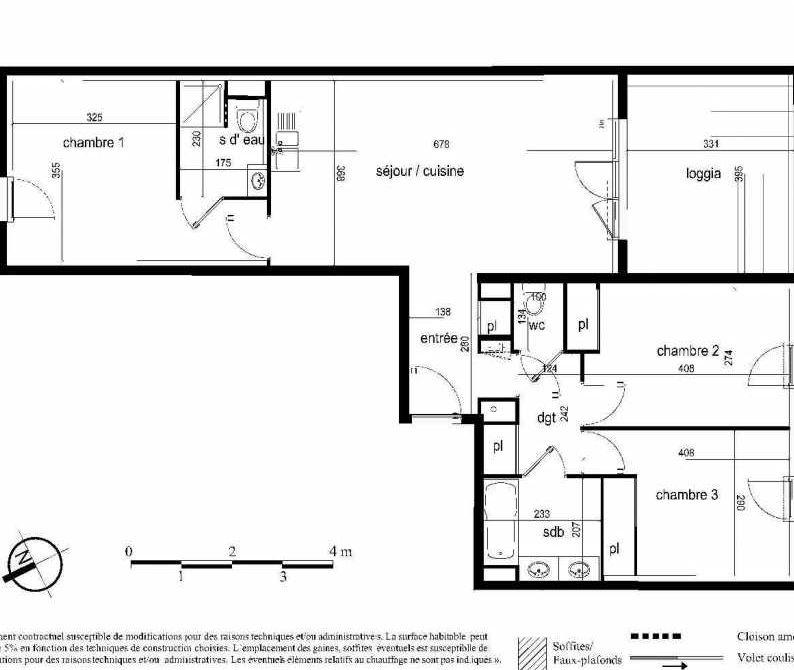 Plan D29, appartement neuf type T4 au 5ème étage, faisant 81m² du programme neuf Nouvel'R à Montpellier.