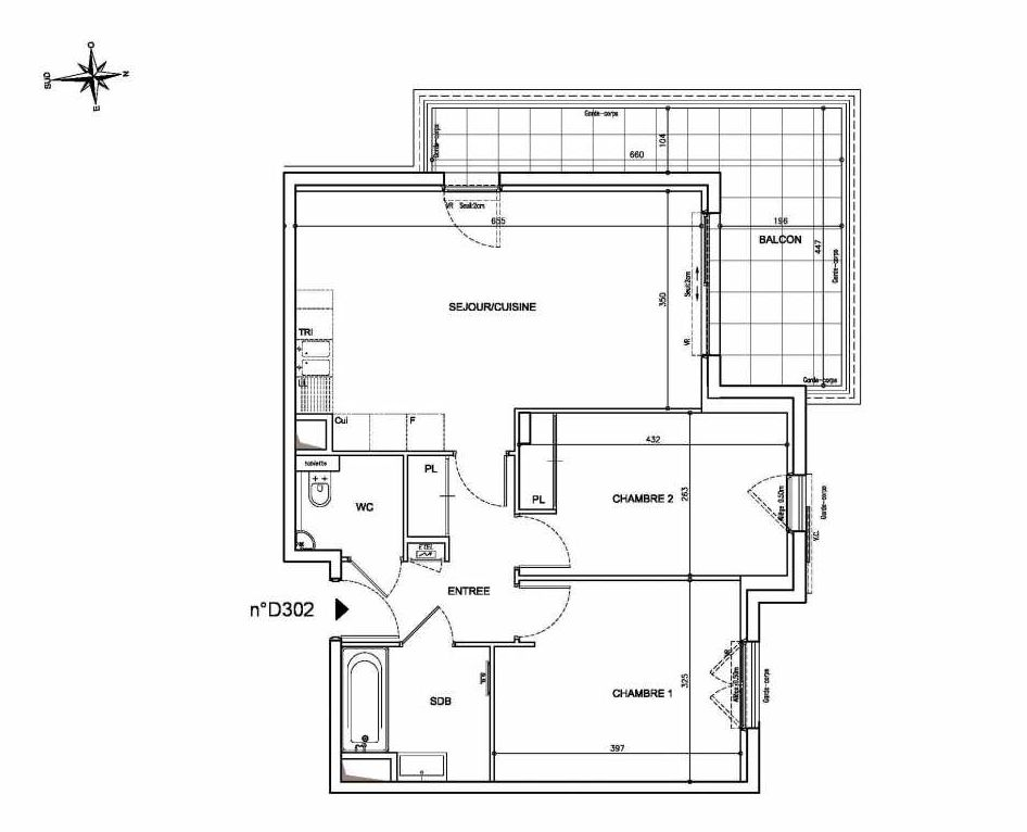 Plan D302, appartement neuf type T3 au 3ème étage, orienté Nord faisant 63m² du programme neuf Coeur Mougins - Jardins des Sens et Jardins en Vue à Mougins.