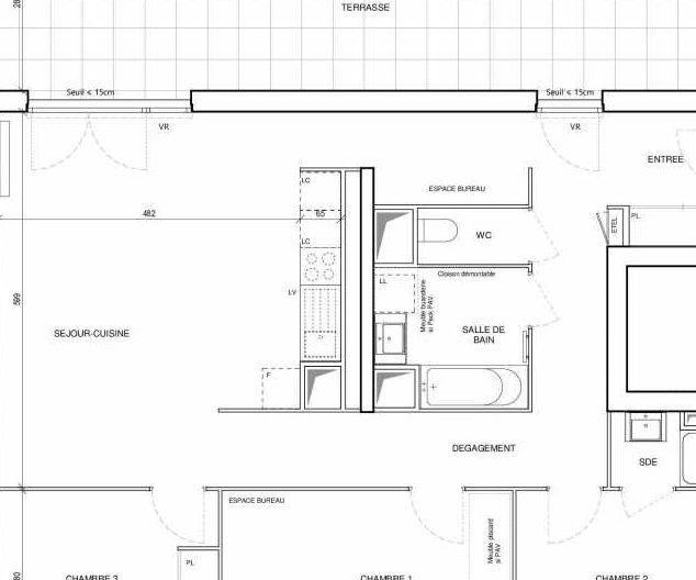 Plan D32, appartement neuf type T4 au 3ème étage, orienté Ouest faisant 93m² du programme neuf 188 FAUBOURG à Toulouse.