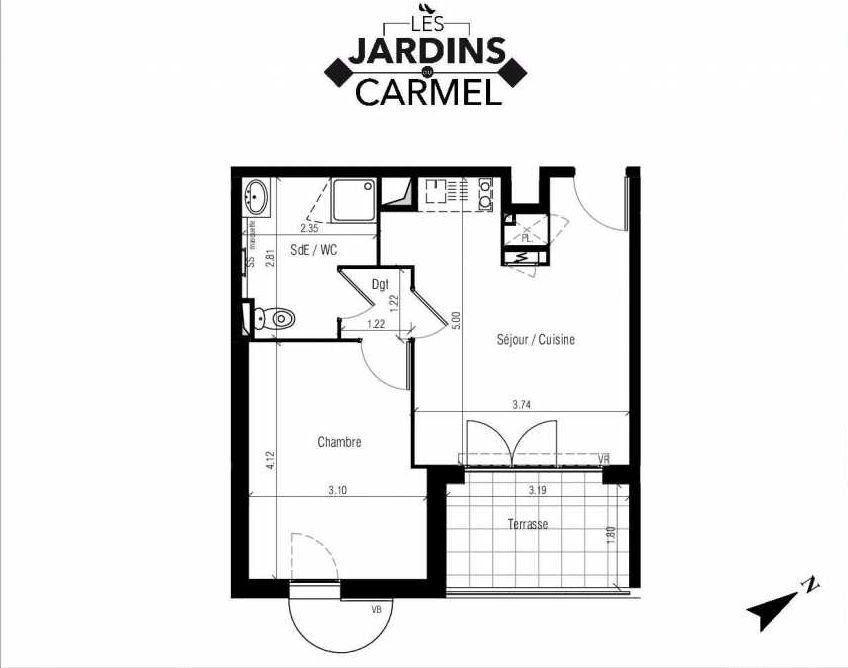 Plan D32, appartement neuf type T2 au 4ème étage, faisant 38m² du programme neuf Les Jardins du Carmel à Sète.