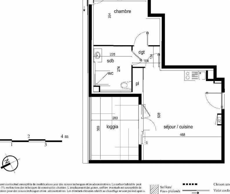 Plan D32, appartement neuf type T2 au 5ème étage, faisant 46m² du programme neuf Nouvel'R à Montpellier.