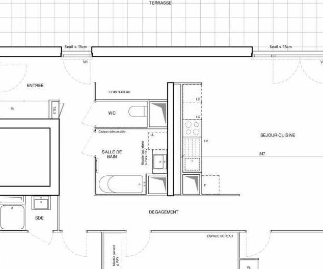 Plan D33, appartement neuf type T4 au 3ème étage, orienté Ouest faisant 93m² du programme neuf 188 FAUBOURG à Toulouse.