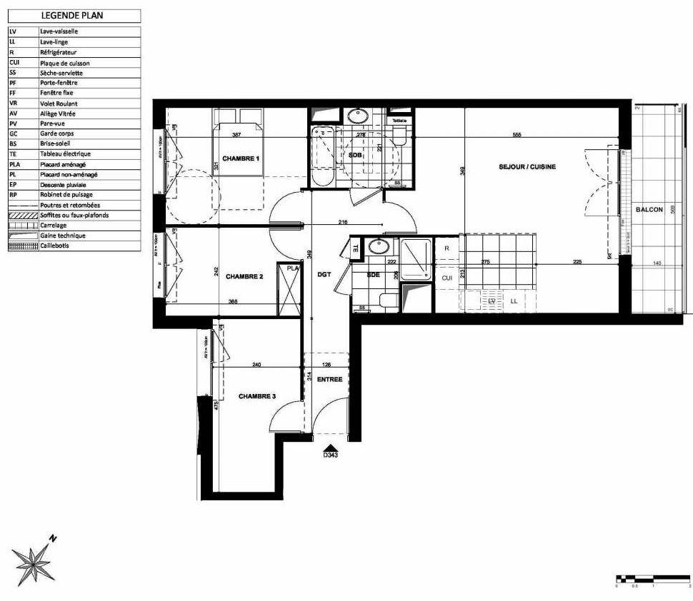 Plan D343, appartement neuf type T4 au 3ème étage, orienté Nord faisant 81m² du programme neuf L'INSTANT à Clichy.