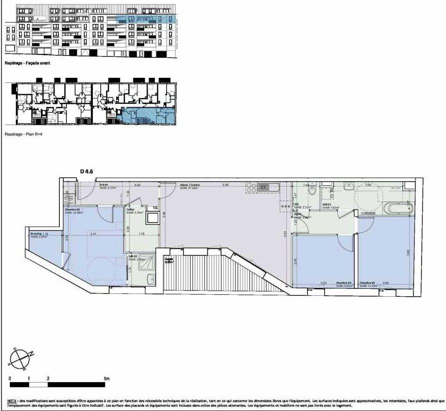 Plan D4.6, appartement neuf type T4 au 4ème étage, orienté Sud faisant 90m² du programme neuf ESKO à Valenciennes.