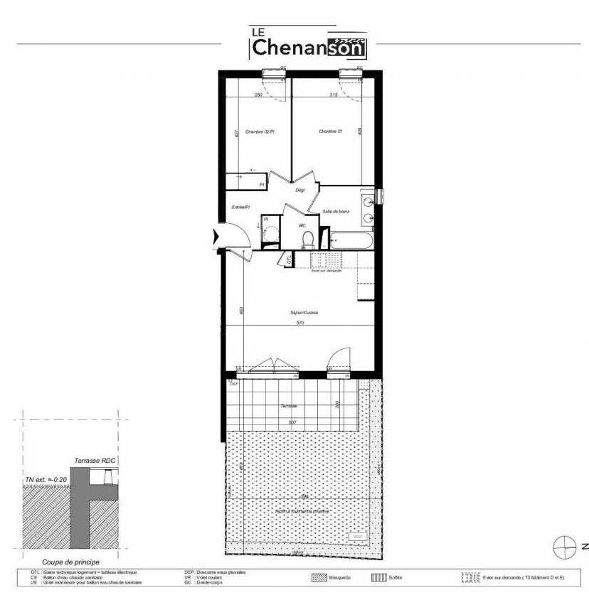 Plan D401, appartement neuf type T3 au Rez de chaussée, faisant 62m² du programme neuf Domaine Mas Rous Le Chenanson à Perpignan.