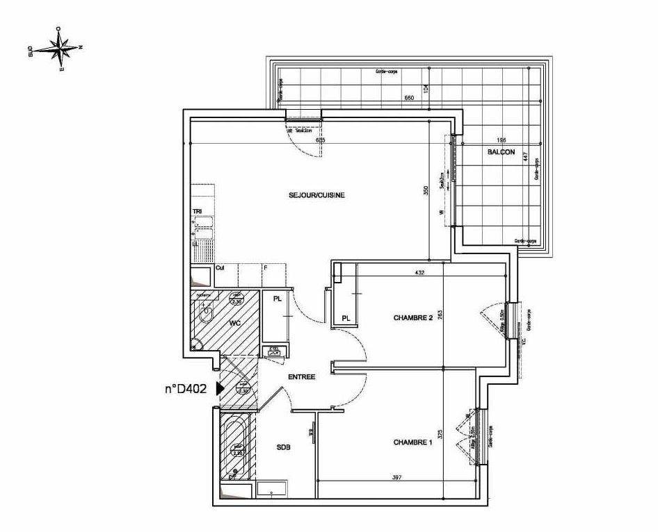 Plan D402, appartement neuf type T3 au 4ème étage, orienté Nord faisant 63m² du programme neuf Coeur Mougins - Jardins des Sens et Jardins en Vue à Mougins.
