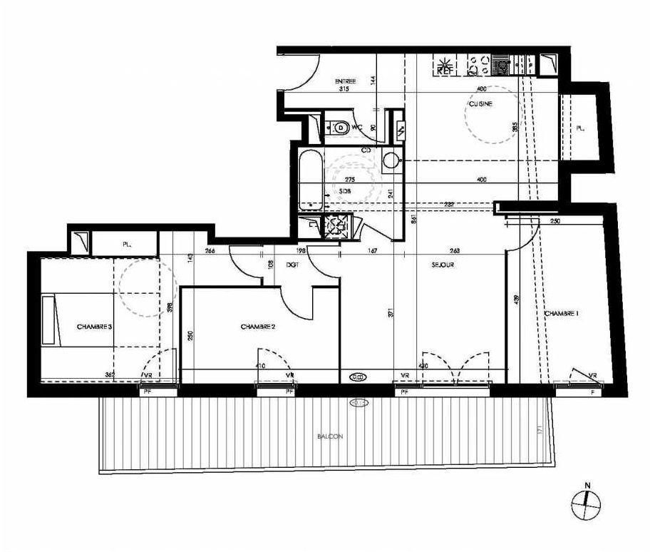 Plan D403, appartement neuf type T4 au 4ème étage, orienté Sud faisant 86m² du programme neuf PAVILLON 32 à Toulouse.